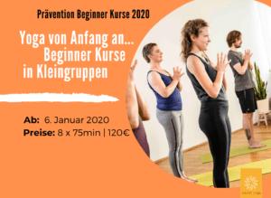 Jetzt anmelden! Prävention Yoga Beginner Kurse ab Januar 2020