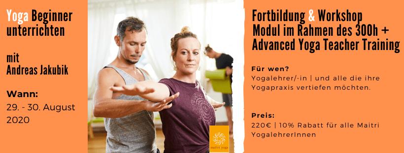 Yoga Beginnerklassen unterrichten | Fortbildung mit Andreas Jakubik